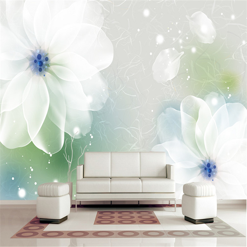 Custom Wallpaper 3D White Flowers Photo Wall Mural Transparent Floral Wallpapers Wall Papers for Living Room Home Decor Painting custom baby wallpaper snow white and the seven dwarfs bedroom for the children s room mural backdrop stereoscopic 3d