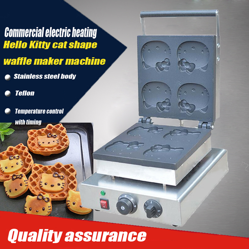 2PC Electric Hello Kitty cat shape waffle maker machine  / Khaki muffin cake machine/commercial waffle machine