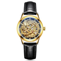 LAOGESHI Luxury Brand Dragon & phoenix lovers men watch women leather hollow engraving automatic mechanical watches relojes