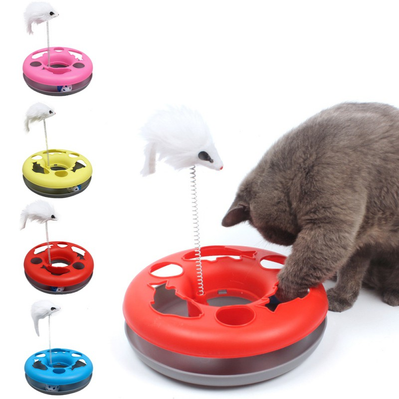 Multiple Color Cats Toys Spring Mice Crazy Amusement Disk Multifunctional Disk Play Activity Pet Funny Toys