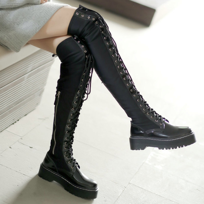 Knee High Gladiator Leather Lace Up Shoes