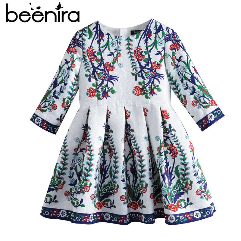Beenira Children Princess Dress 2017 New Brand European And American Style Kids Half-Sleeve Pattern Girls Autumn Dress For 4-14Y 100% real photo brand kids red heart sleeve dress american and european style hollow girls clothes baby girl clothes
