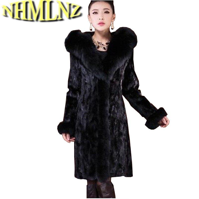 Шуба женская верхняя одежда Fox меховой воротник с капюшоном Дизайн Для женщин 2018 зимнее пальто теплая Топ норки Меховая куртка OK98