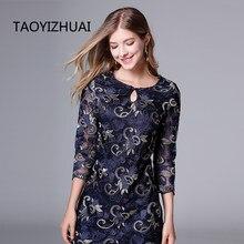 TAOYIZHUAI 2019 New Arrival Spring Vintage Short and Three Quarter Publish Blue Plus Size L Embroidery Lace Women Dress 11654