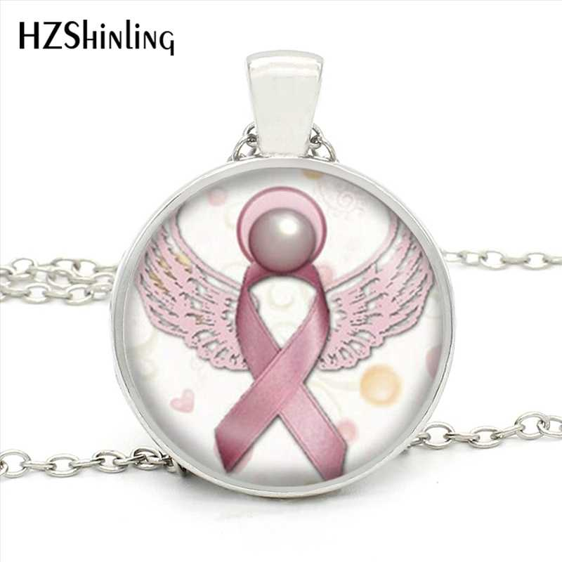 HZ1- MINI-0039 Angel  Breast Cancer Awareness Ribbon Pendant Necklace Glass Cabochon Jewelry Hope  Ribbon Necklace