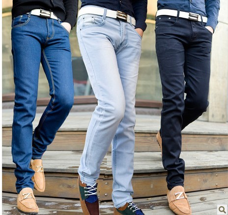 Fashion Men Summer Autumn Blue Light Color Jeans Plus Size Denim Pants Male Cotton Casual Pencil
