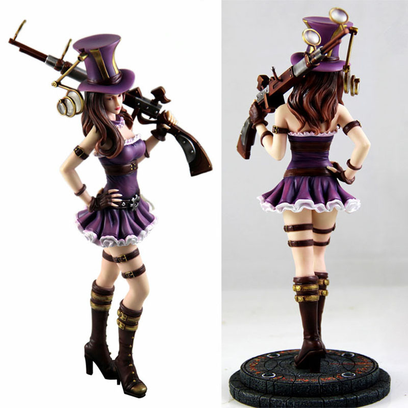 PVC Anime Games LOL Caitlyn Action Figure Super Lady Cop Sexy Police Women Doll Model Toy Gift Decorations 27cm image