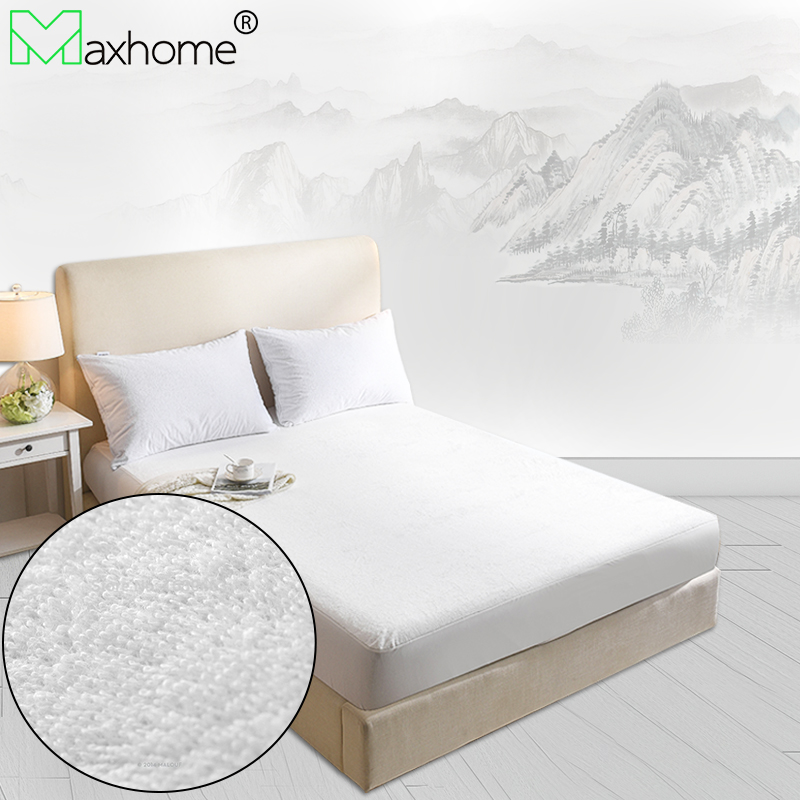 Terry Waterproof Mattress Cover Mattress Pad Elastic Band Anti-dust mite Anti-bacterial Air-permeable 160x200cm All Size