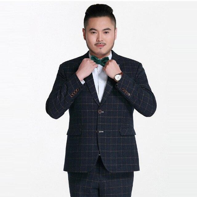 Big size suits men for wedding Plaid suit top quality fatty Men suits blazer with pant vest 3 pcs male plaid business Suits CD9