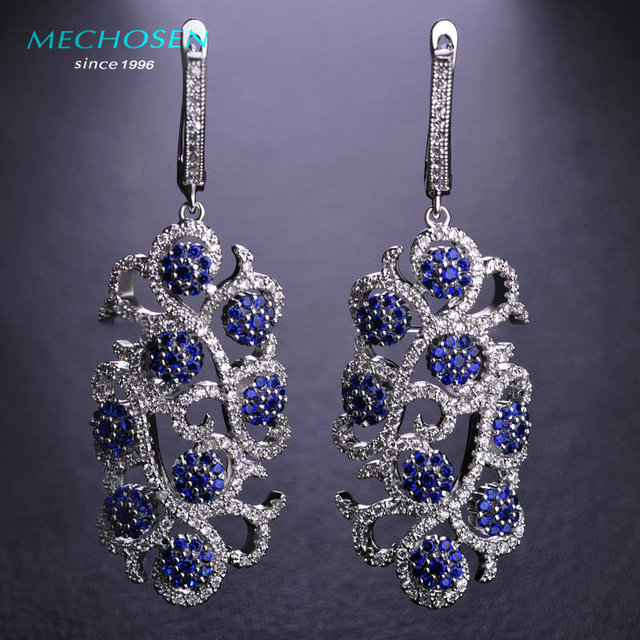 Mechosen exagerada longos brincos gota para as mulheres de casamento de luxo jóias ródio chapeado cz zirconia copper flor oscila o brinco