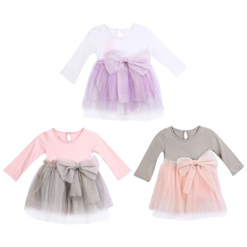 Baby Girls Autumn Lace Princess Dress Girls Stylish Long Sleeve Bow Knot Mesh Patchwork Girls Knee-length Dress for 2-6 Years 3 4 sleeve mesh patchwork lace dress