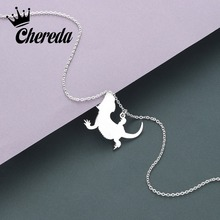 Chereda Cute Cartoon Gecko Chain Necklace Stainless Steel Trendy Pendant Classic Simple Design Charm Unisex Jewelry