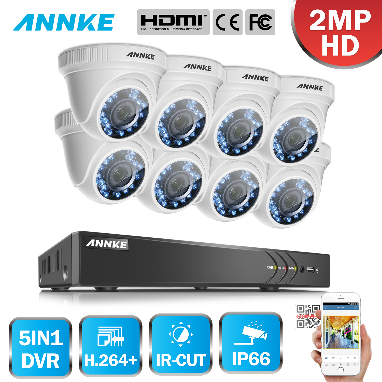 цена на ANNKE 8CH 1080P HD TVI DVR Smart Playback Home Security Camera System 8pcs 1080P Waterproof Smart IR Dome Camera Surveillance
