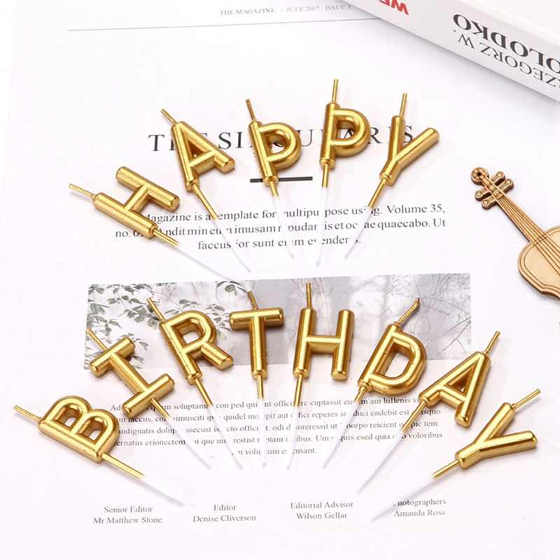1 Set Gold Sliver Happy Birthday Letter Cake Birthday Party Festival Supplies Lovely Birthday Candles For Kitchen Baking Gift