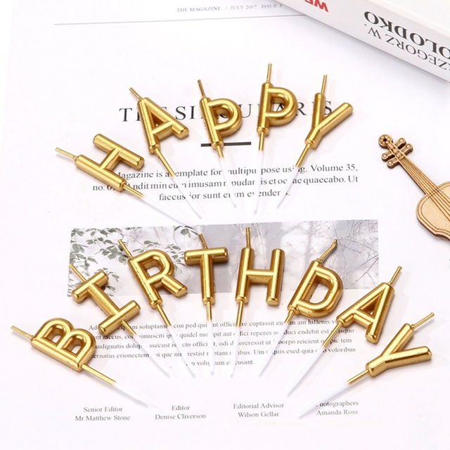 1 set gold sliver happy birthday letter cake birthday party festival supplies lovely birthday candles for