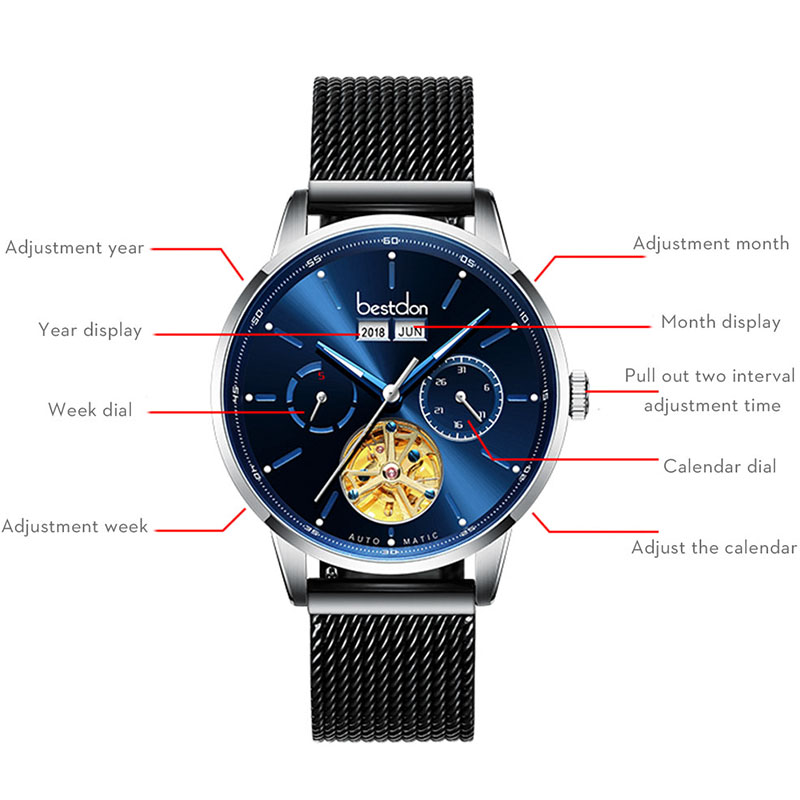 Bestdon Skeleton Mechanical Men's Watch Big Dial Automatic Sports Wrist Watches Switzerland Top Brand Luxury Waterproof Relogio