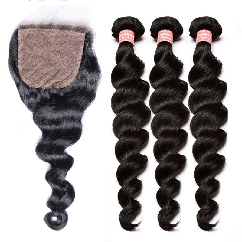 Свободная волна Шёлковые подкладки с пучками человеческих волос Weave Связки с закрытием бразильские Реми предварительно сорвал натуральный