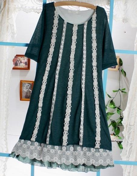 Богемное трикотажное платье халат сладкий Мори Лолита девушка Tunique Curto Свободные повседневные Gispy платье хиппи бохо женская одежда Saida Ropas - Цвет: 1