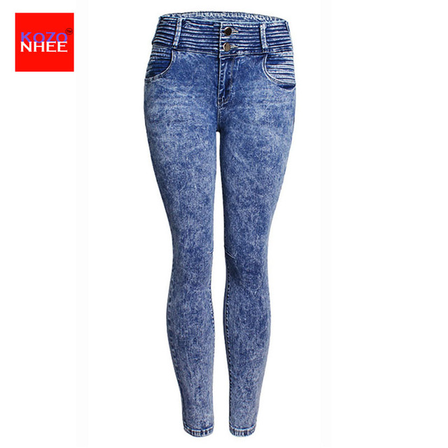 280b7897dc5 stretching Snow Wash Skinny Jeans Women Elasticity Skinny Mom Jeans With  High Waist Jeans for girls Female Jean large size