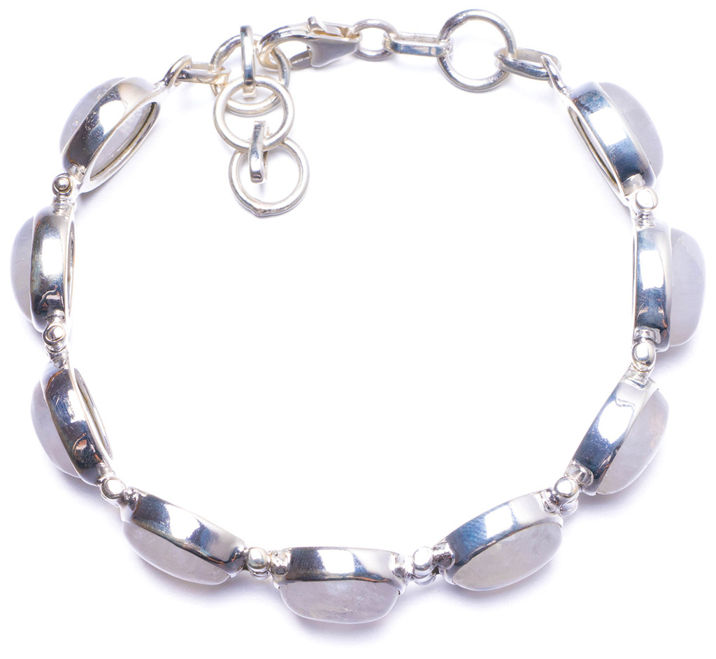 Natural Rainbow Moonstone Handmade Unique 925 Sterling Silver Bracelet 6 3/4-7 3/4