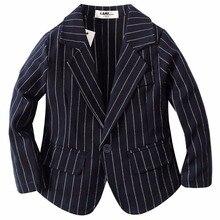 woven cotton 100%  toddler boy dark blue stripe blazer BJ1709