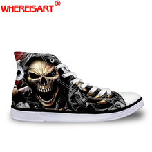hot deal buy whereisart classic men's punk rock skull style high-top vulcanize shoes casual lace-up canvas shoes for men students flat shoes