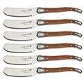 6.25 lalalaguiole estilo manteiga espalhadores facas conjunto cortador de queijo punho de madeira manteiga faca de aço inoxidável cozinha talheres 6 peças