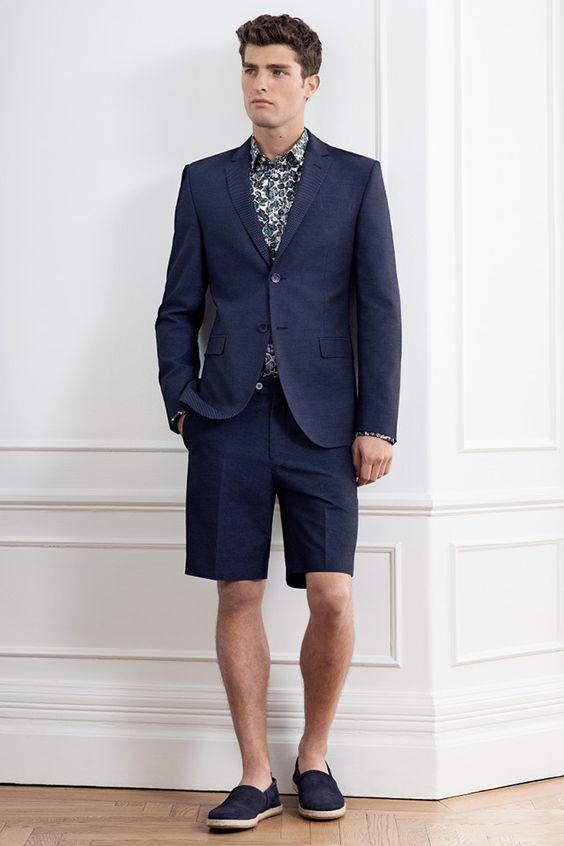 2017 Latest Coat Pant Designs Navy Blue Men Suit Short ...