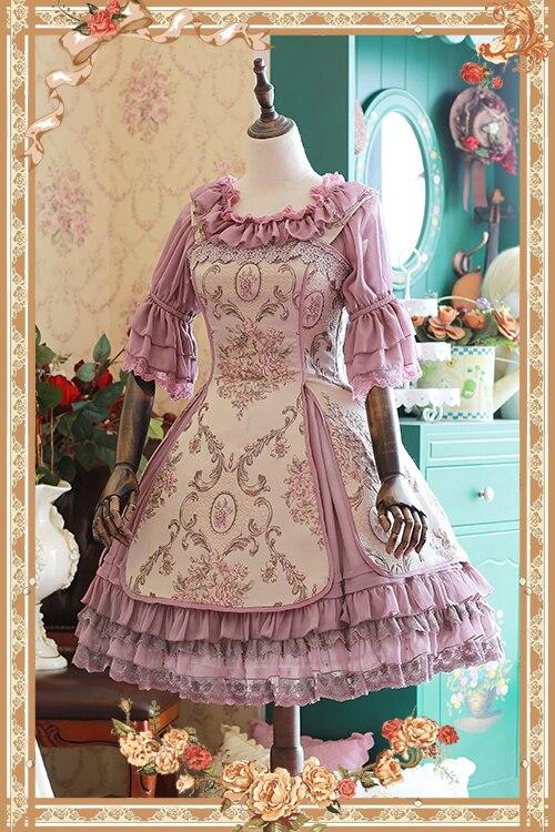 달콤한 자카드 꽃 jsk 로리타 드레스 윈저 애프터눈 티 시리즈 민소매 드레스 infanta-에서드레스부터 여성 의류 의  그룹 3