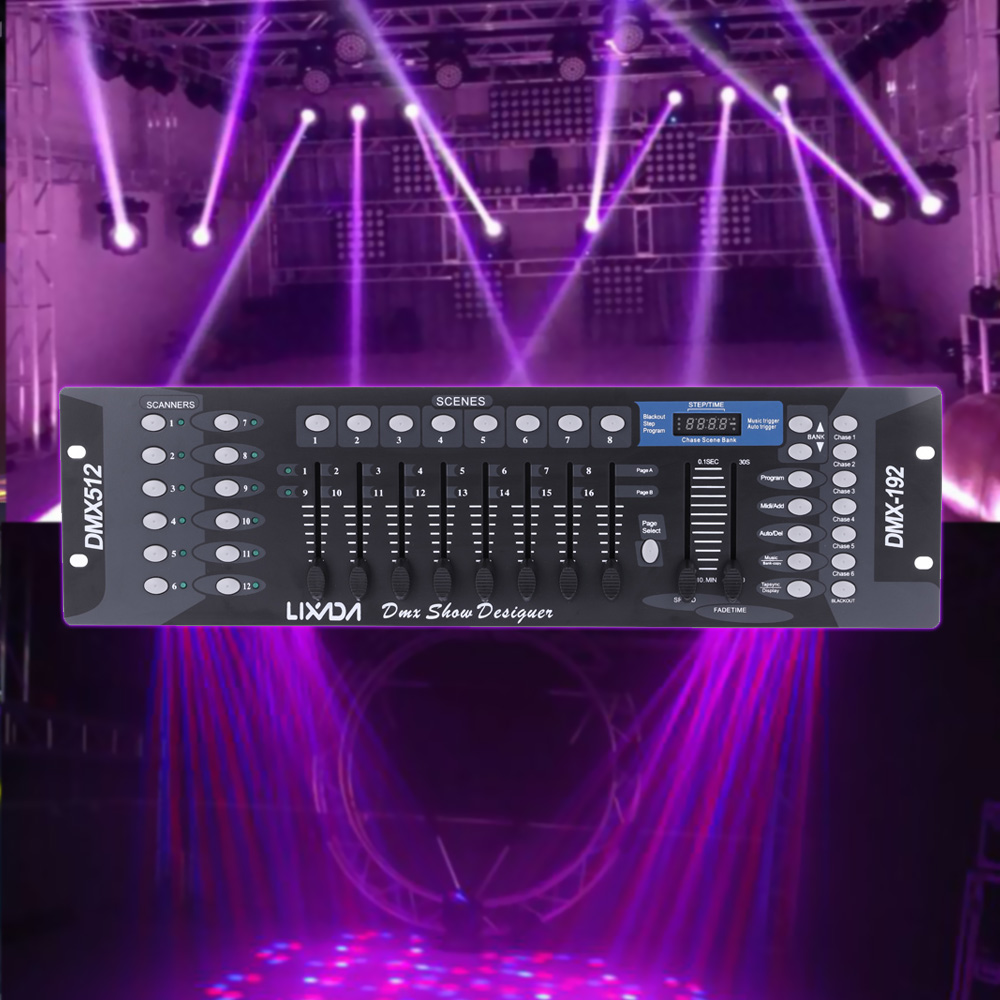 Lixada 192 Channels DMX512 Controller Console for Stage Light Party DJ Disco Operator Equipment
