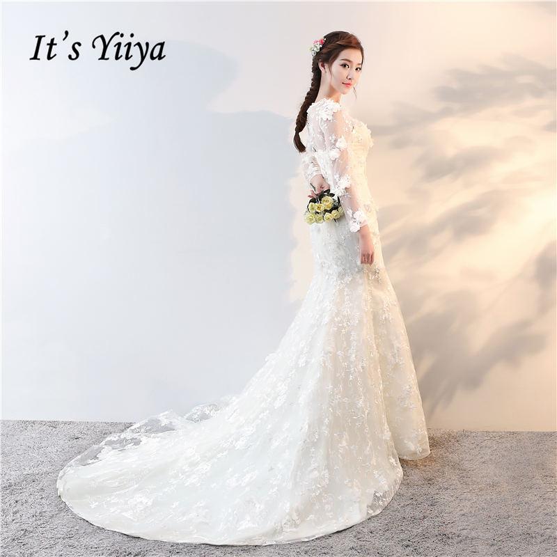 Es Yiiya 2017 Off White manga completa O-cuello nuevos vestidos de - Vestidos de novia