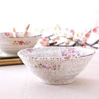 Japan Style Red Plum Blossom Handpaint Ceramic Bowl Porcelain Tabelware Under Glazed Large Bowl Noodle Soup