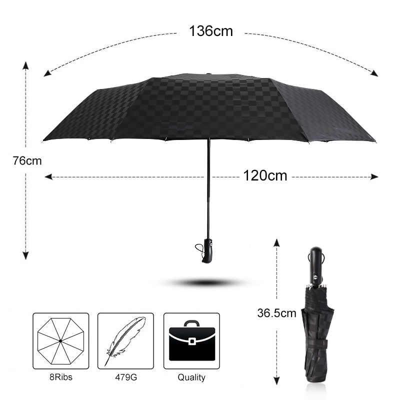 Windproof גדול 3 מתקפל באופן מלא אוטומטי מטריית גשם נשים כהה רשת עסקים רכב חיצוני מטריות גברים שמשייה מטריית תיק