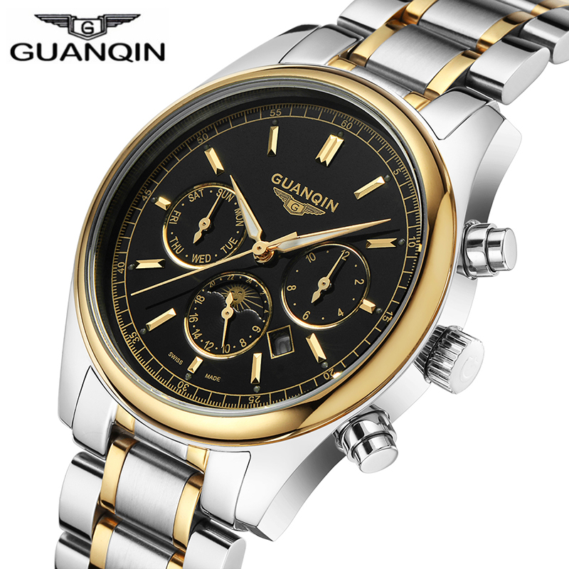 GUANQIN 2018 Брендовые Часы для мужчин бизнес для мужчин s Золото Erkek коль Saati одежда заплыва кварцевые часы водонепроница...