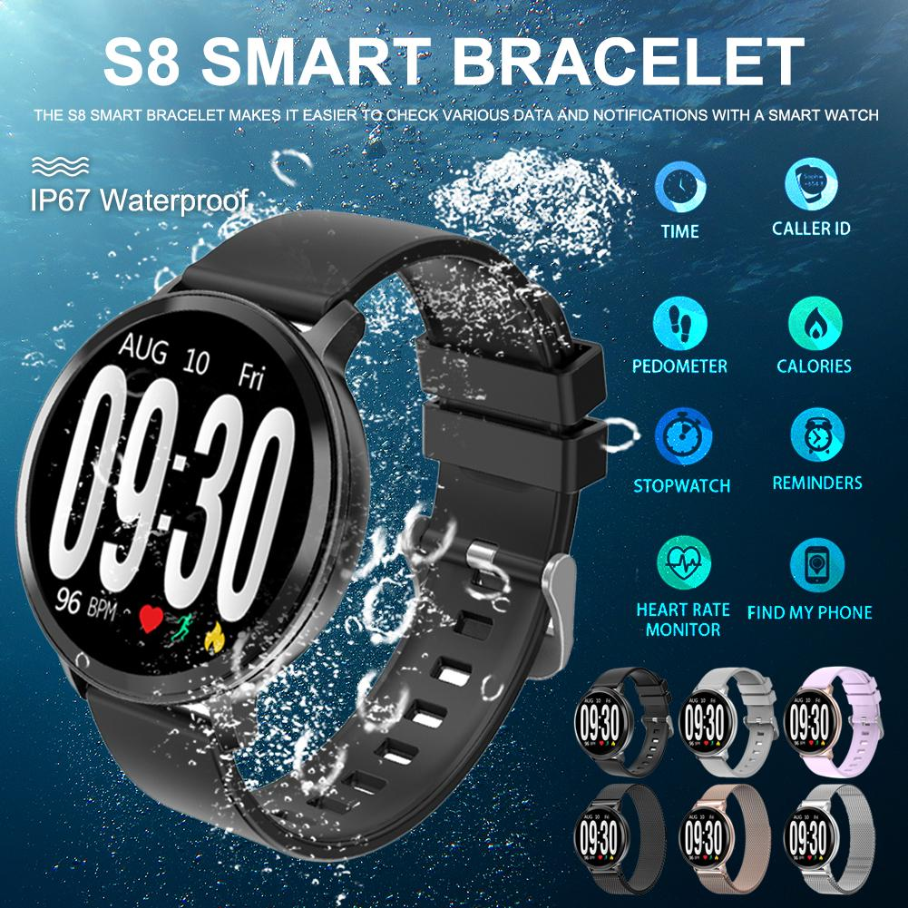 S8 Smart Bracelet Waterproof Fitness Tracker Heart Rate Step Counted Sleep Monitoring Call Reminder Push Sports Watch Wristband