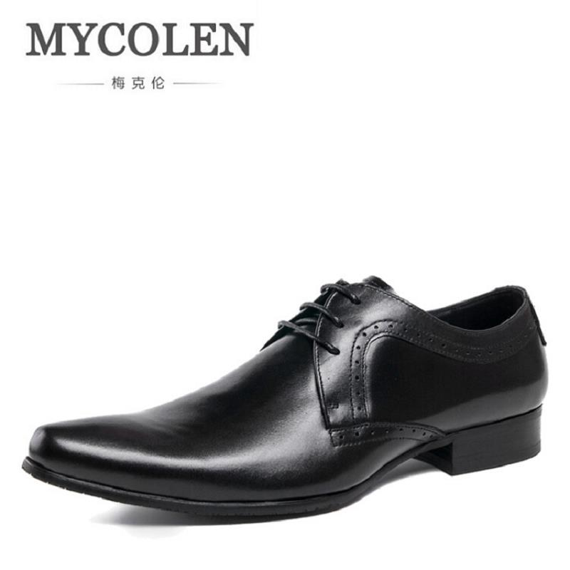 MYCOLEN Formal Shoes Pointed Toe Business Wedding Brown Genuine Leather Oxford Shoes For Men Dress Shoes Chaussure Homme Cuir luxury genuine leather wedding shoes pointed toe black white dress shoes men chaussure homme casual loafers formal business shoe