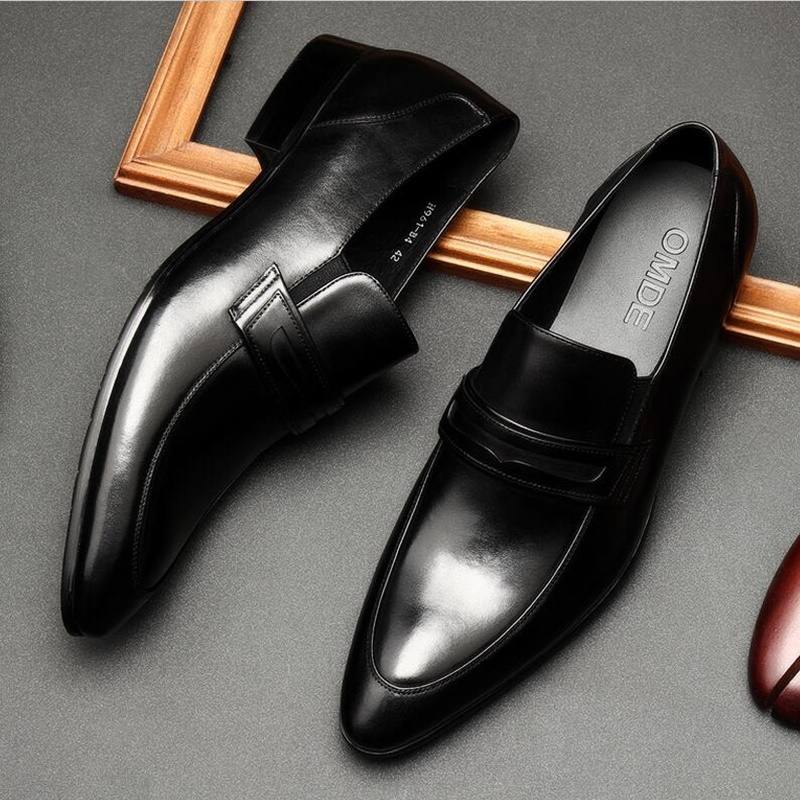 OMDE New Fashion 2019 Black Leather Loafers Pointed Toe Men Loafers Dress Shoes Slip On Men's Party And Wedding Shoes