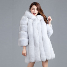 Spring Winter Fox Fur Coats With Hood For Women Real Fur Coat Hooded Long Sleeve Winter Jacket Customized Big Size BF-C0060 fur