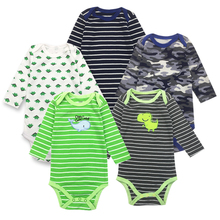 5Pieces/Lot Baby Bodysuits Long Sleeved Boys Girls Clothing