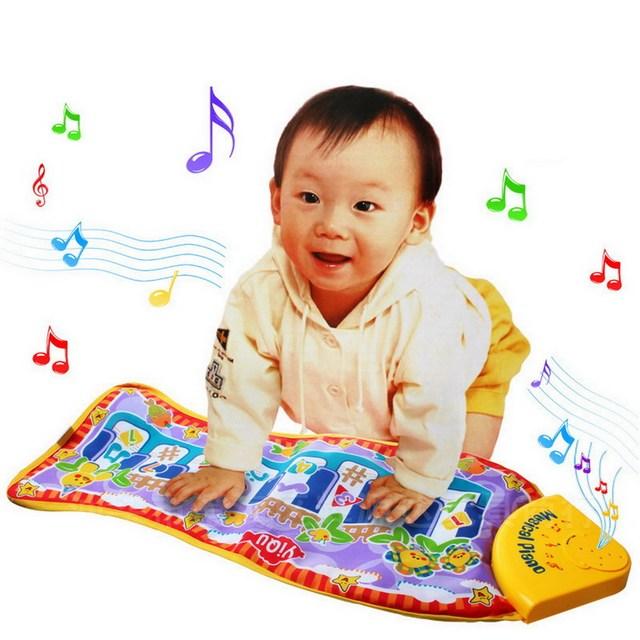 2016 Brand New Peixe Jogo de Música de Piano Tapete Esteira Do Jogo Do Bebê Musical Farm bebê Crawl Mats Frete Grátis