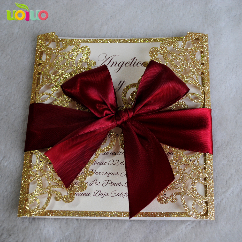 Party decorations invitation card glitter paper design laser cut ...