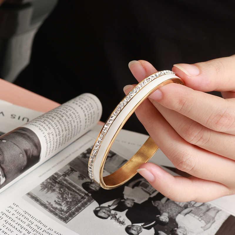 ความงามสแตนเลสเซรามิคเรซิ่นสร้อยข้อมือผู้หญิงหรูหราคริสตัล Charm Cuff กำไลข้อมืองานแต่งงานของขวัญเครื่องประดับ