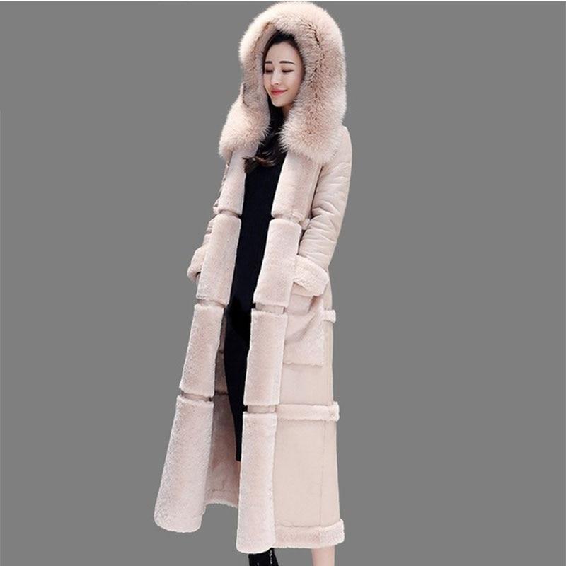 Winter Faux Leather Coat Hooded Parka Female Fashion Faux Fur Coat X Long jacket Thick Warm