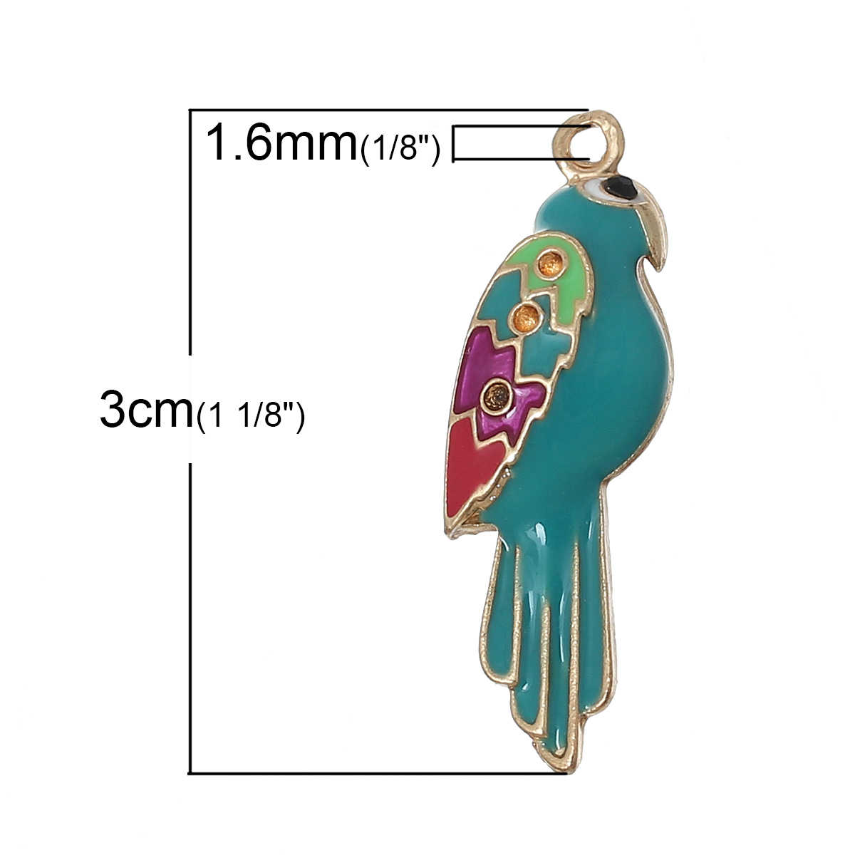 DoreenBeads Zinc alloy Charm Pendants Parrot Gold color Multicolor(Hold ss4 Rhinestone)Black Rhinestone Enamel 30mmx10mm,1 PC