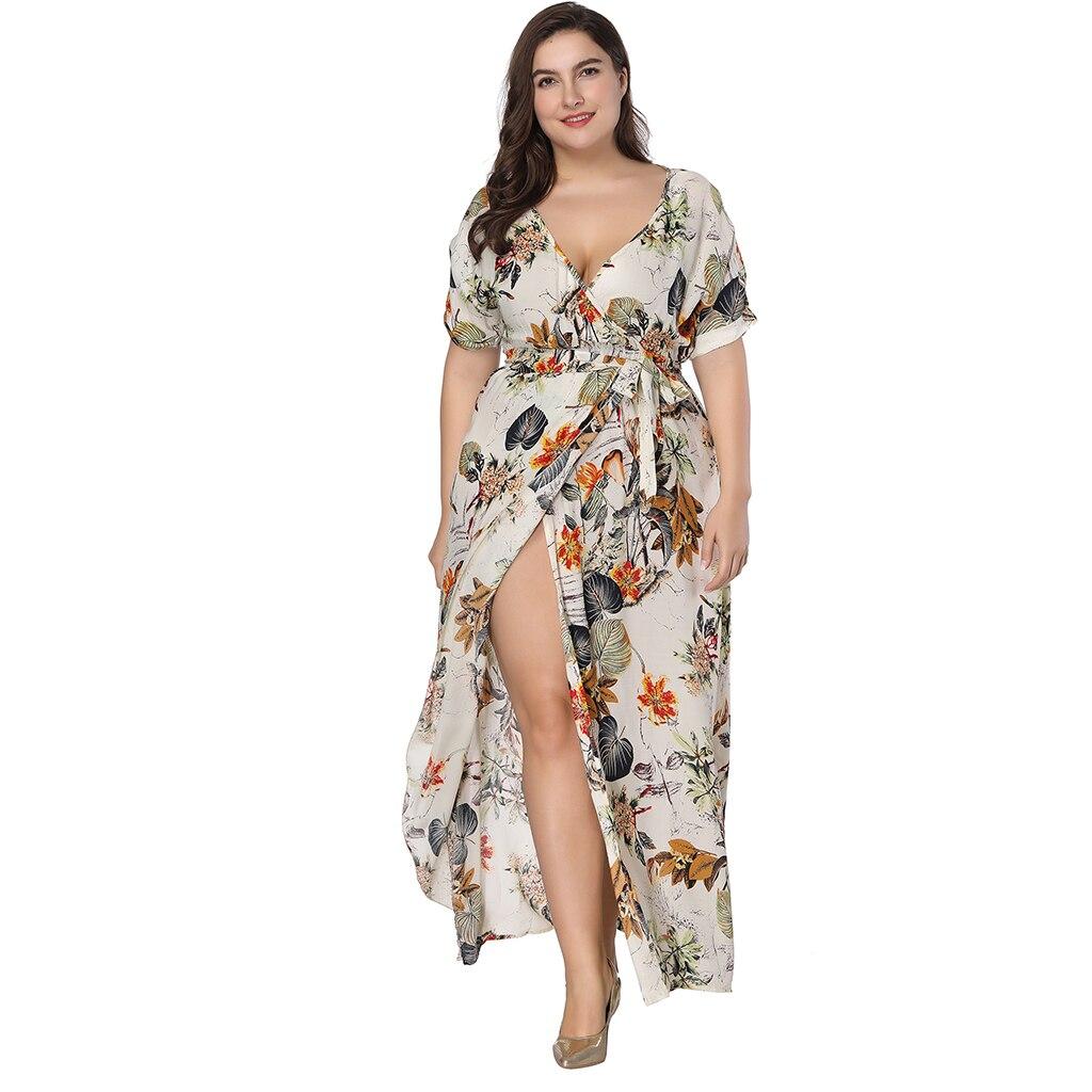 7XL Plus Size Beach Dress 2018 New Fashion Short Sleeve V