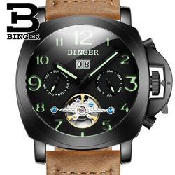 Szwajcaria męski zegarek luksusowej marki BINGER automatyczne mechaniczne zegarki wielofunkcyjny wojskowy Stop Luminous człowiek zegar B1169-5