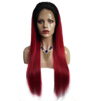 Hesperis Brazilian Human Hair Ombre Red Glueless Full Lace Wigs For Black Women Silky Straight Natural