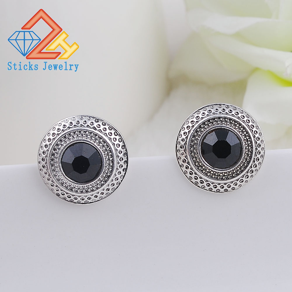 Fashion Boho Big Stud Earrings for Women Jewelry Brinco Carved Vintage Tibetan Silver Bohemian Long
