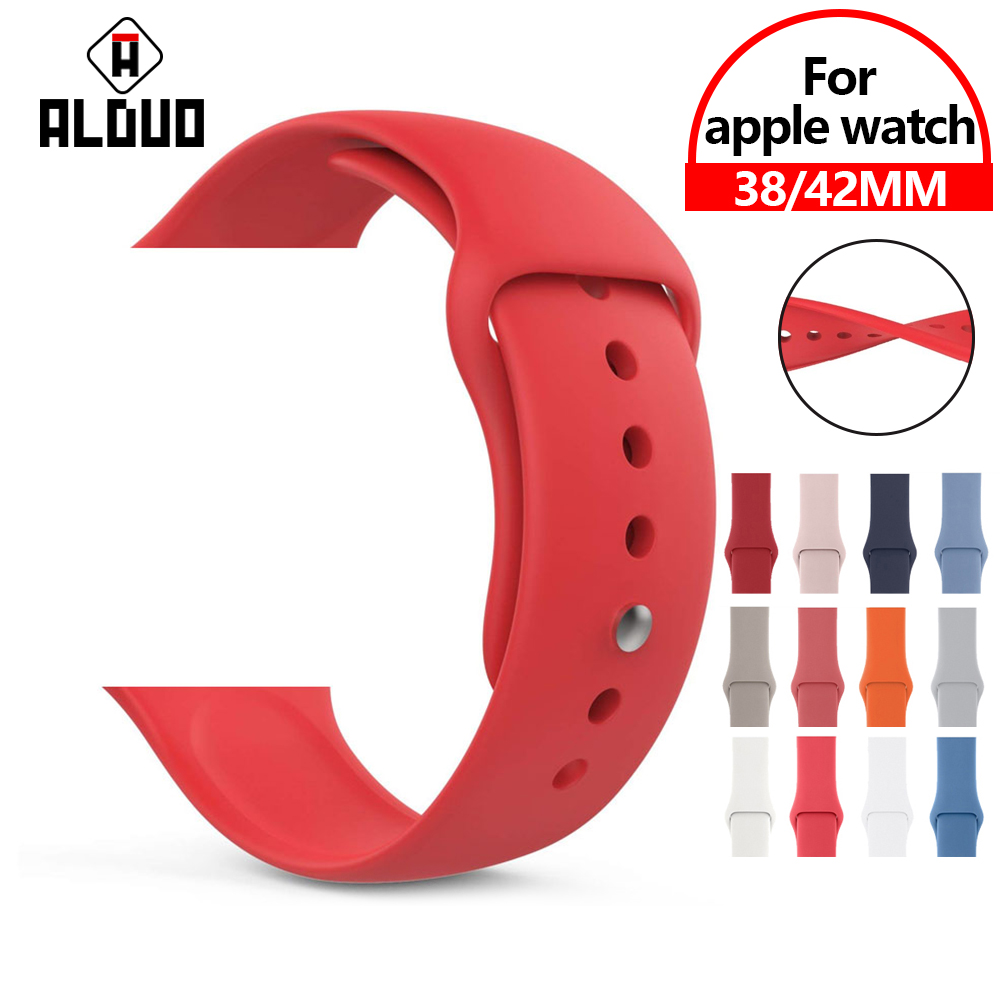 Soft Silicone Replacement Band For Apple Watch Series 4 3 2 1 3842mm 4044mm Silicone Wrist Bracelet Watch Straps Accessories