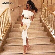 Amily. c вечерние платья знаменитостей длиной до щиколотки с бантом и оборками новые летние женские облегающие платья с вырезом лодочкой черное, розовое, белое платье